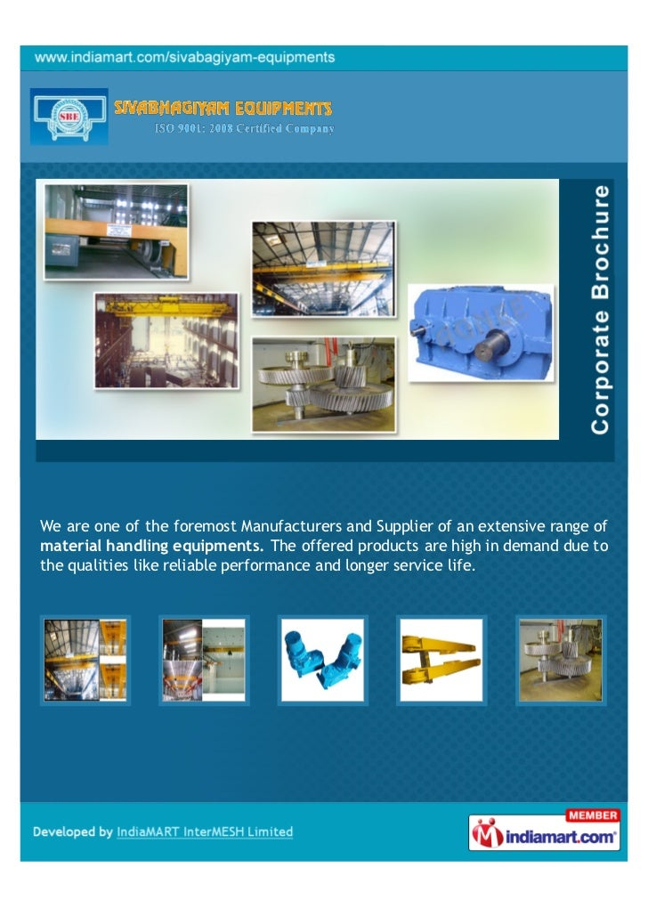 We are one of the foremost Manufacturers and Supplier of an extensive range ofmaterial handling equipments. The offered pr...