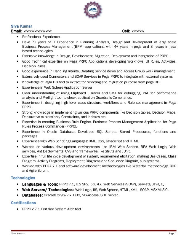 Pega Sample Resume Pega Cssa Resumes