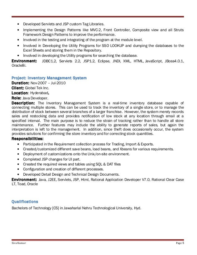 pega sample resume