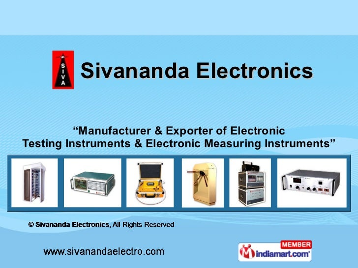 "Sivananda Electronics "" Manufacturer & Exporter of Electronic Testing Instruments & Electronic Measuring Instruments"""
