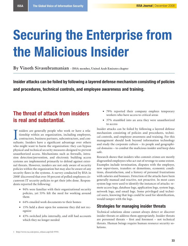 ISSA            The Global Voice of Information Security                                     ISSA Journal   December 2008 ...