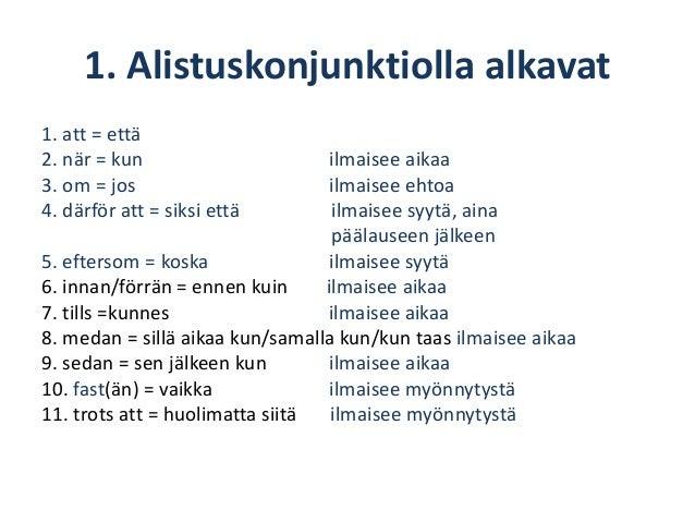 Sivulauseen Sanajärjestys Ruotsi