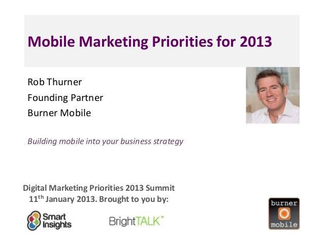 Mobile Marketing Priorities for 2013 Rob Thurner                                     <Insert Founding Partner             ...
