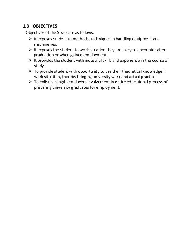 aims of siwes Siwes objectives objectives of students' industrial work-experience scheme (siwes.