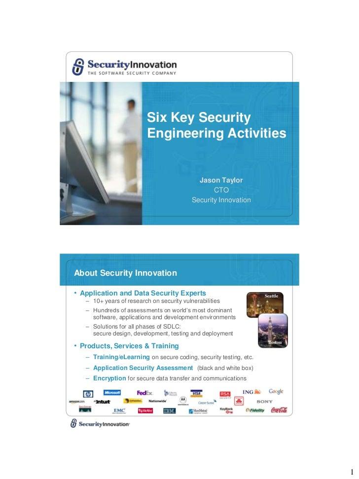 Six Key Security                          Engineering Activities                                             Jason Taylor ...