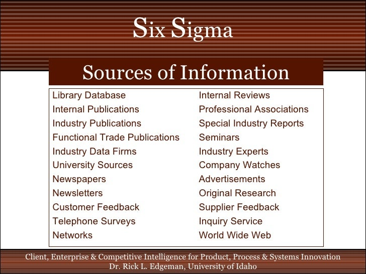 Six Sigma Benchmarking