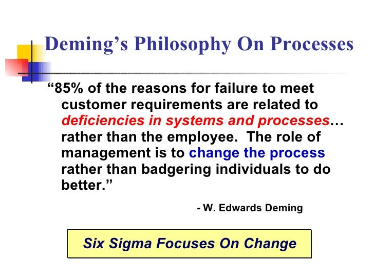 """Deming's Philosophy On Processes """" 85% of the reasons for failure to meet customer requirements are related to  deficienci..."""