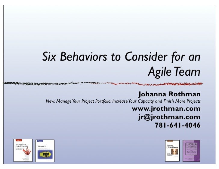 Six behaviors for agile team