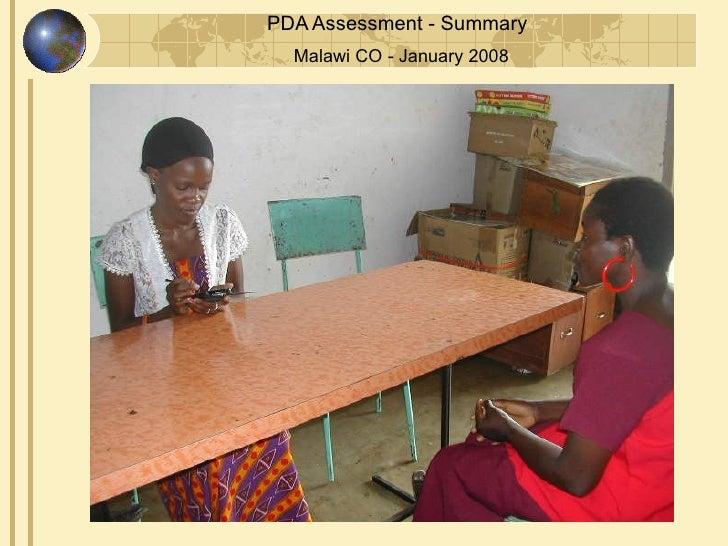 PDA Assessment - Summary   Malawi CO - January 2008