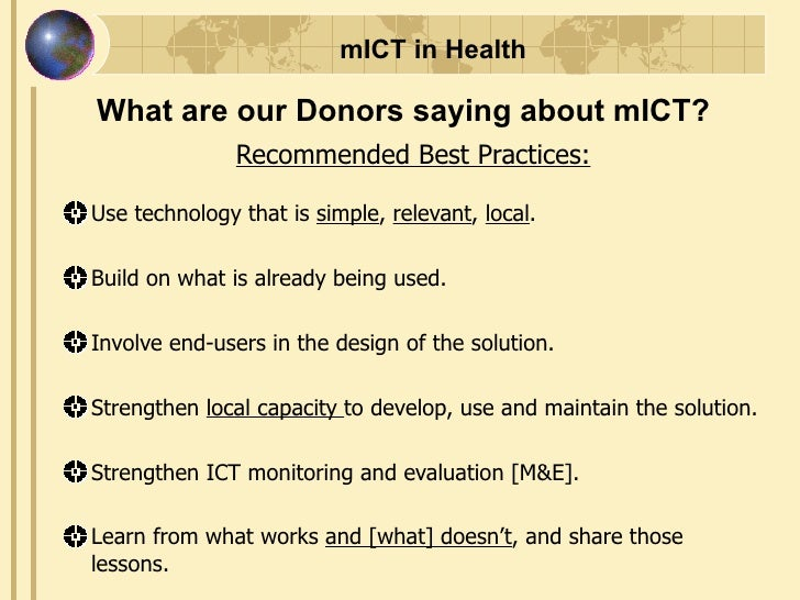 Must Be Sustainable; 49. MICT In Health ...