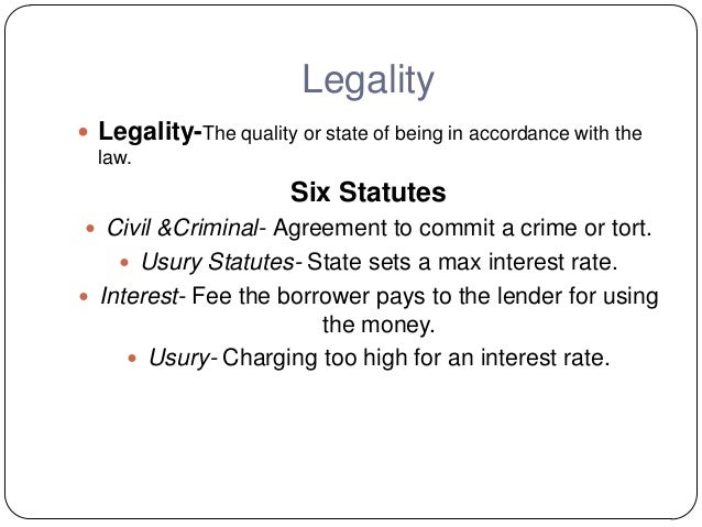 The principle of legality under the