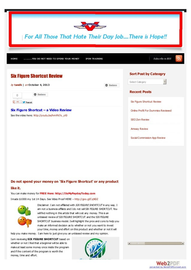 HOME ………..YOU DO NOT NEED TO SPEND YOUR MONEY IPDN TRAINING Subscribe to RSS 0 TweetTweet Six Figure Shortcut Review by ta...