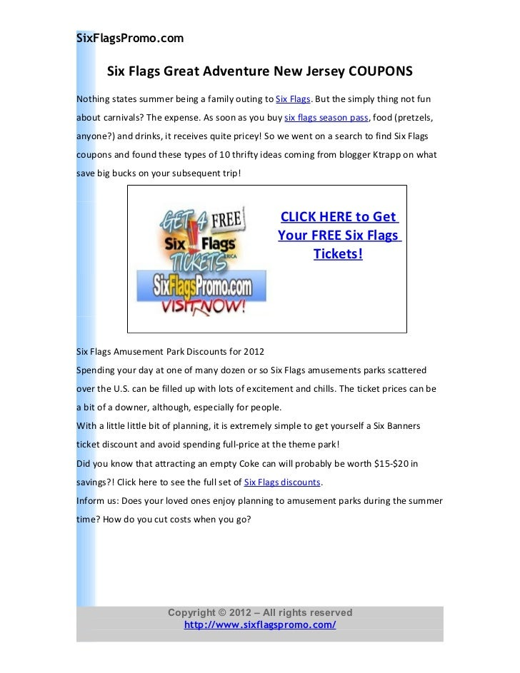 six flags great adventure new jersey coupons