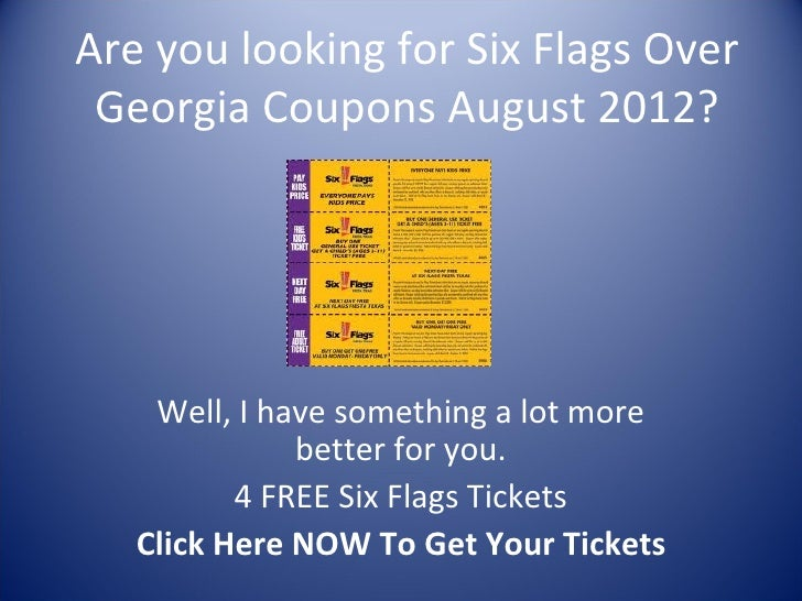 Use the best Six Flags Over Georgia promo code to get at the lowest price when shop at androidmods.ml Save big bucks w/ this offer: A lot of different ways to earn points for Six Flags Over Georgia .