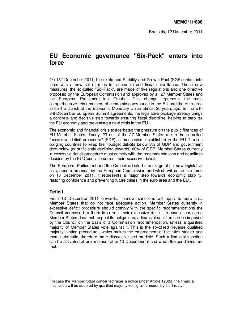 "MEMO/11/898                                                             Brussels, 12 December 2011EU Economic governance ""..."