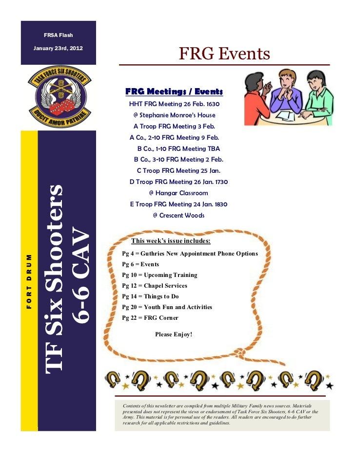 FRSA Flash                                                            FRG Events            January 23rd, 2012            ...