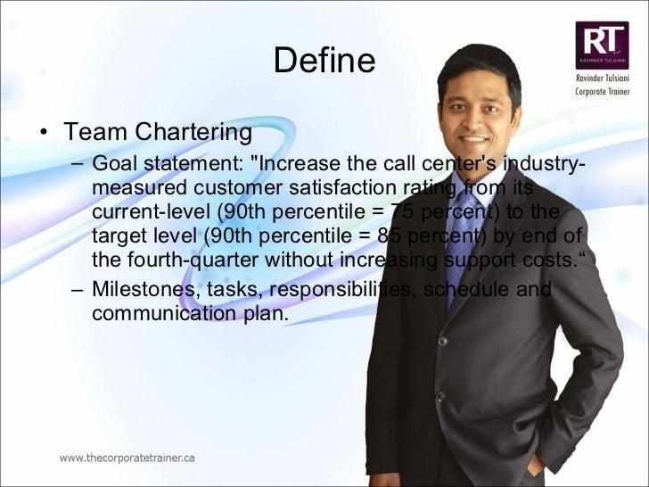Define <ul><li>Team Chartering </li></ul><ul><ul><li>Goal statement: &quot;Increase the call center's industry-measured cu...