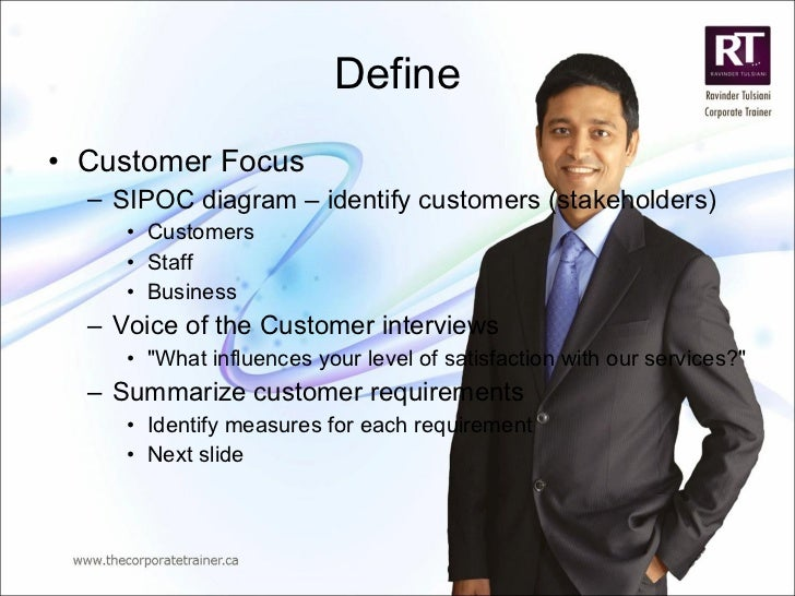 Define <ul><li>Customer Focus </li></ul><ul><ul><li>SIPOC diagram – identify customers (stakeholders) </li></ul></ul><ul><...