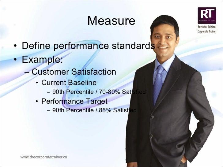 Measure <ul><li>Define performance standards </li></ul><ul><li>Example: </li></ul><ul><ul><li>Customer Satisfaction </li><...