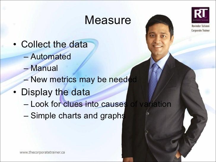 Measure <ul><li>Collect the data </li></ul><ul><ul><li>Automated </li></ul></ul><ul><ul><li>Manual </li></ul></ul><ul><ul>...