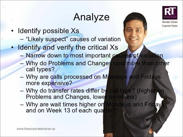 "Analyze <ul><li>Identify possible Xs </li></ul><ul><ul><li>"" Likely suspect"" causes of variation </li></ul></ul><ul><li>Id..."