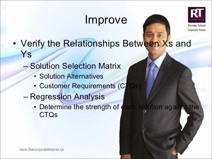 Improve <ul><li>Verify the Relationships Between Xs and Ys </li></ul><ul><ul><li>Solution Selection Matrix </li></ul></ul>...