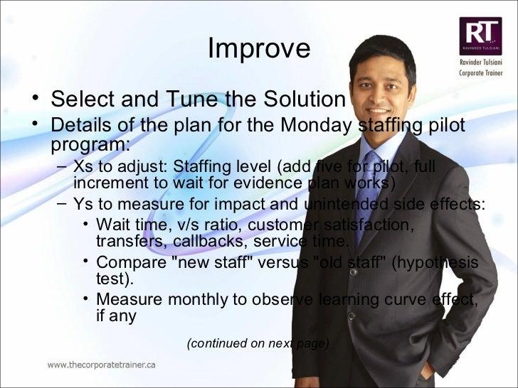 Improve <ul><li>Select and Tune the Solution   </li></ul><ul><li>Details of the plan for the Monday staffing pilot program...