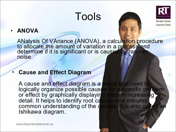 Tools <ul><li>ANOVA ANalysis Of VAriance (ANOVA), a calculation procedure to allocate the amount of variation in a process...