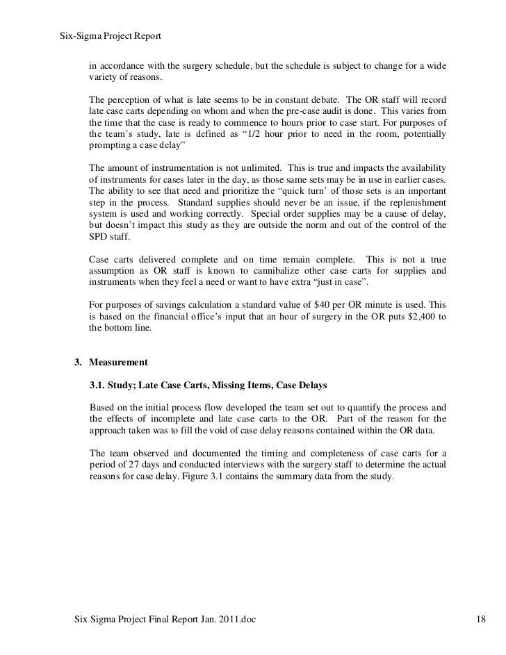 six sigma project report pdf