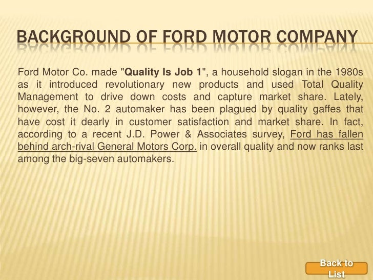 Six Sigma Effect On Ford Motor Company