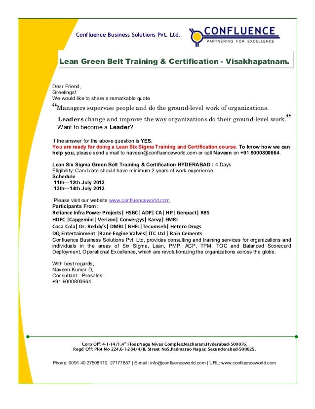 Hello Vizag Six Sigma Green Belt Training Certification Schedule