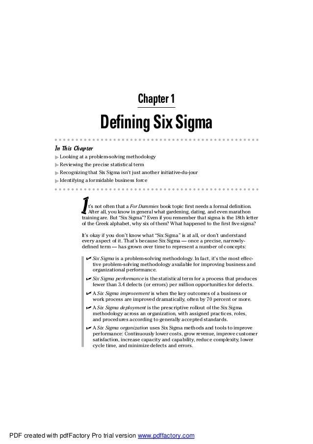 six sigma for dummies free pdf