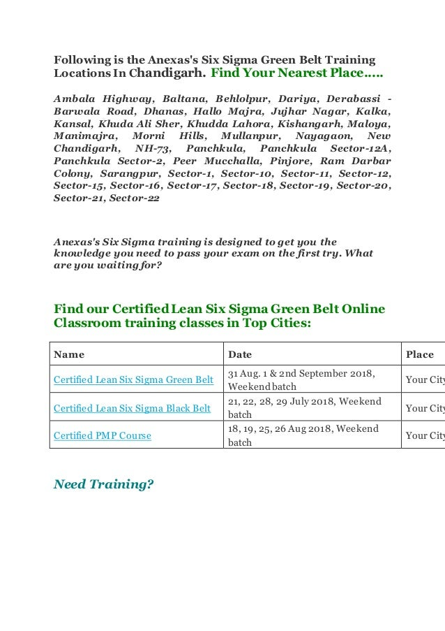 Six Sigma Green Belt Certification Training Courses In Chandigarh