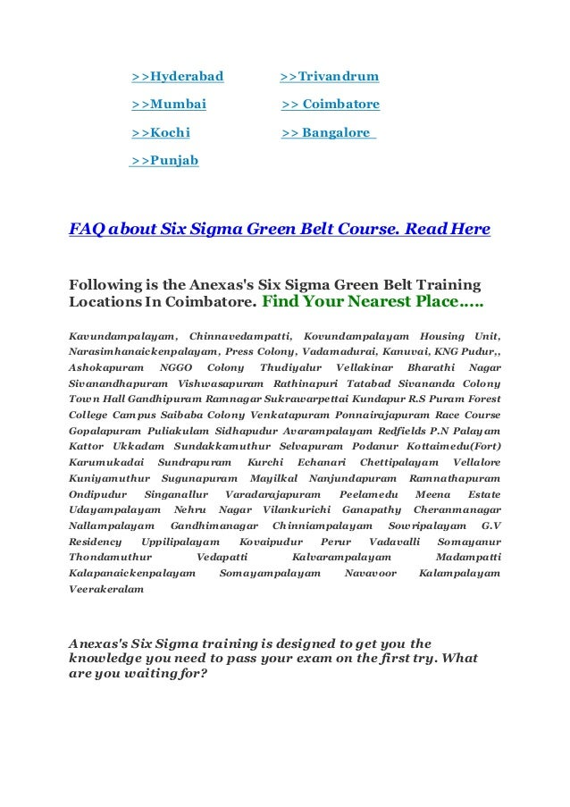 Six Sigma Green Belt Certification Training Courses In Coimbatore