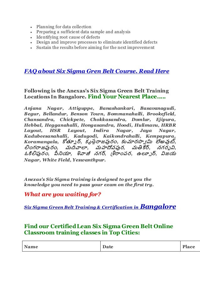 Six Sigma In Bangalore Best Institute For Six Sigma Green Belt