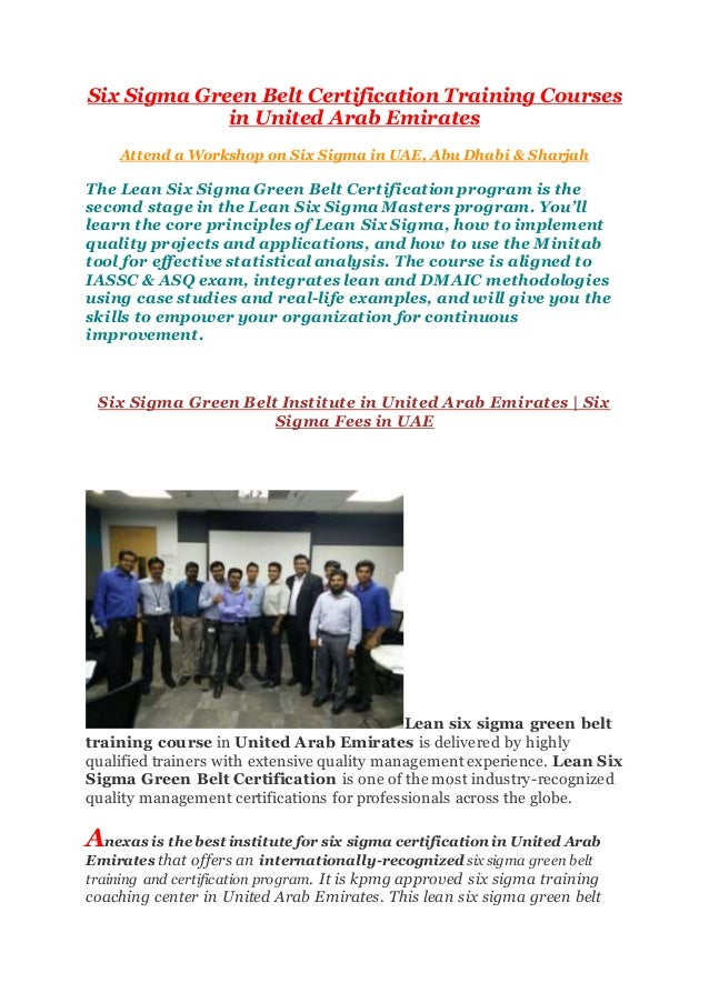 Six Sigma In Uae Abu Dhabi Sharjah