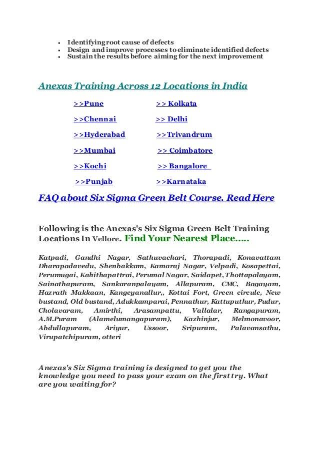 Six Sigma In Vellore Best Institute For Six Sigma Green Belt