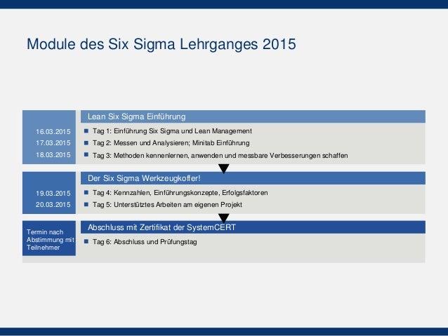 Module des Six Sigma Lehrganges 2015 Abschluss mit Zertifikat der SystemCERT Tag 6: Abschluss und Prüfungstag Der Six Sigm...