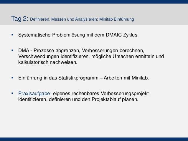 Tag 2: Definieren, Messen und Analysieren; Minitab Einführung  Systematische Problemlösung mit dem DMAIC Zyklus.  DMA - ...