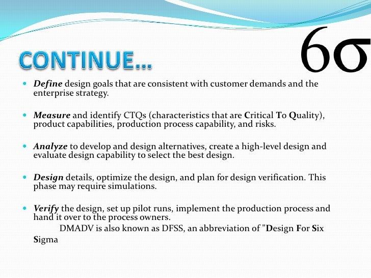 DMAIC                                  DMADV Defines a business process.             Define customer needs Measuring cu...