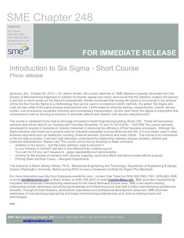 SME Chapter 248 CONTACT Dan Tabish (509) 922-7663 FAX: 509-922-7626 dan@inlandmet.com www.sme248.org  FOR IMMEDIATE RELEAS...