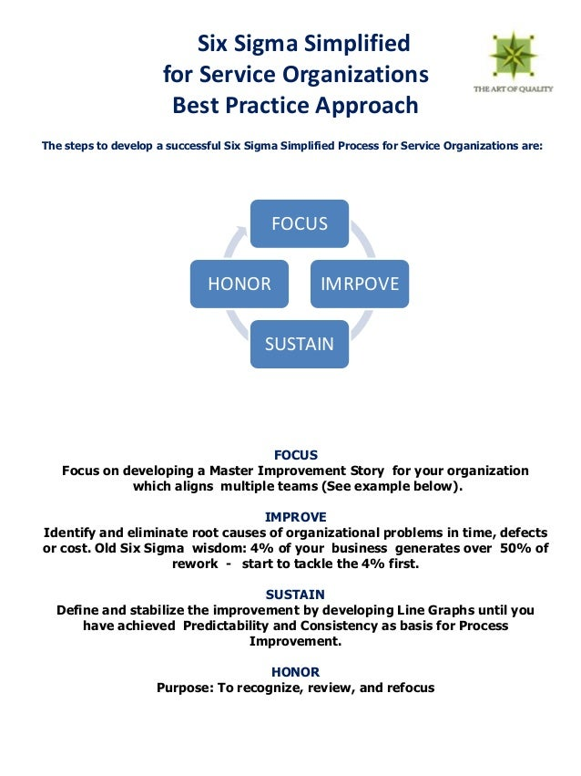 Six Sigma Simplified                      for Service Organizations                       Best Practice ApproachThe steps ...
