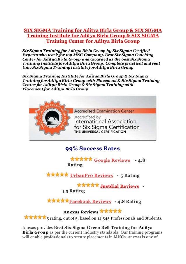 Six Sigma Training For Aditya Birla Group Six Sigma Training Instit