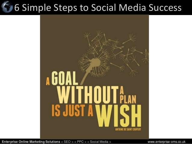 6 Simple Steps to Social Media Success 1Enterprise Online Marketing Solutions < SEO > < PPC > < Social Media > www.enterpr...