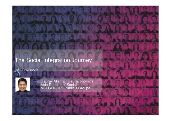 The Social Integration Journey!          Gaurav Mishra | Gauravonomics!          Asia Director of Social !          MSLGRO...