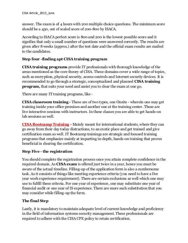 Six Steps To Achieve Cisa Certification Exam June 2013