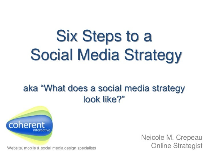 "Six Steps to a Social Media Strategyaka ""What does a social media strategy look like?""<br />Neicole M. CrepeauOnline Strat..."