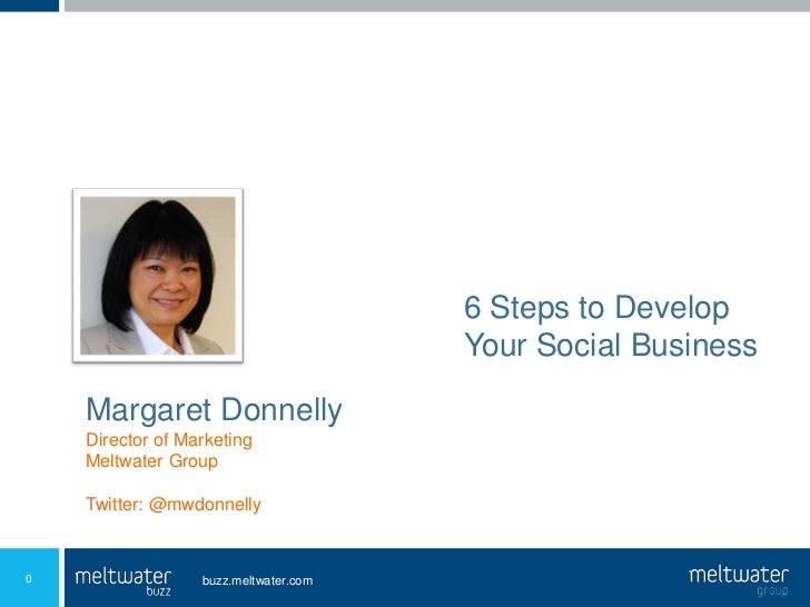 6 Steps to Develop<br />Your Social Business<br />Margaret Donnelly<br />Director of Marketing<br />Meltwater Group<br />T...