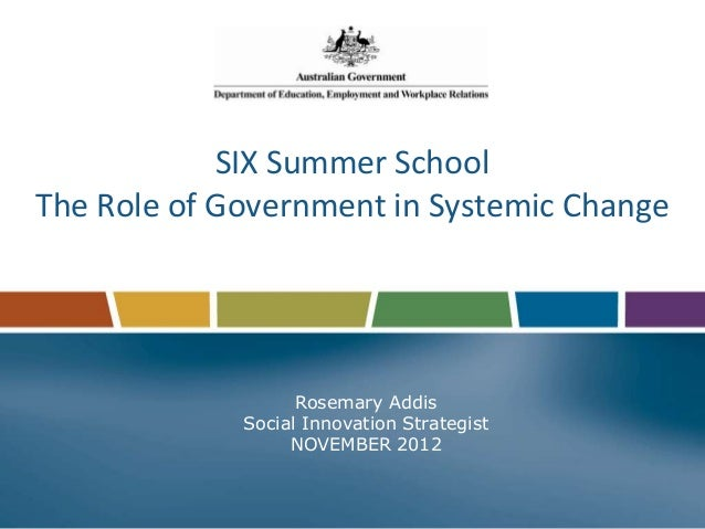 SIX Summer SchoolThe Role of Government in Systemic Change                   Rosemary Addis             Social Innovation ...
