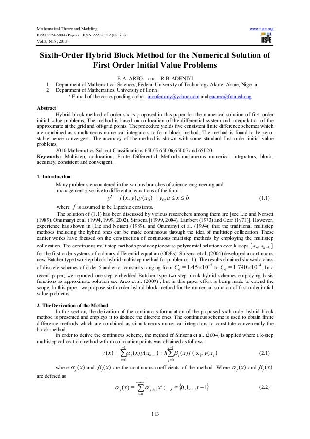 Mathematical Theory and Modeling www.iiste.org ISSN 2224-5804 (Paper) ISSN 2225-0522 (Online) Vol.3, No.8, 2013 113 Sixth-...